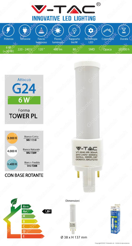 V-TAC VT-2046 LAMPADINA LED G24 6W TOWER HORIZONTAL LIGHT
