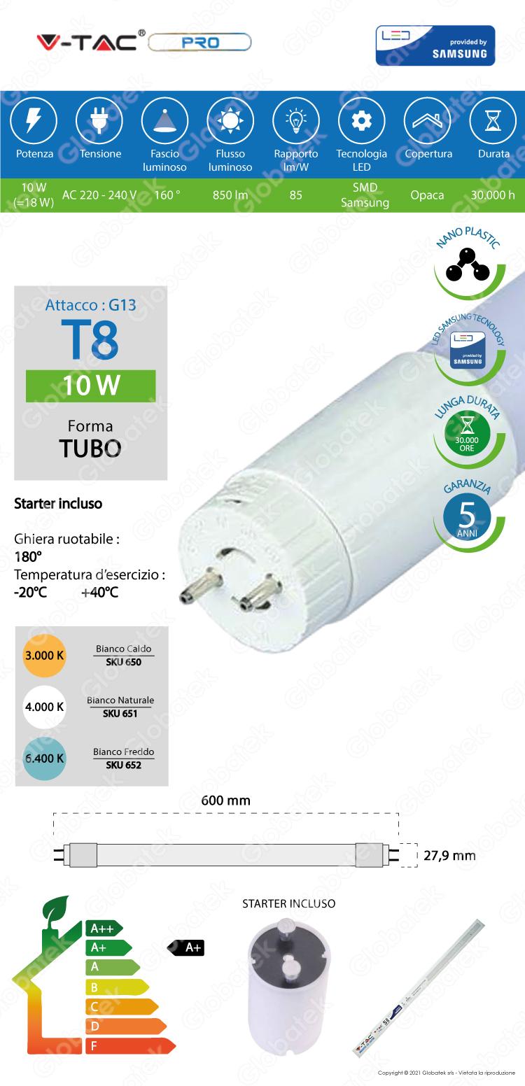 V-TAC PRO VT-061 SMD TUBO LED NANO PLASTIC T8 G13 10W CHIP SAMSUNG LAMPADINA 60CM
