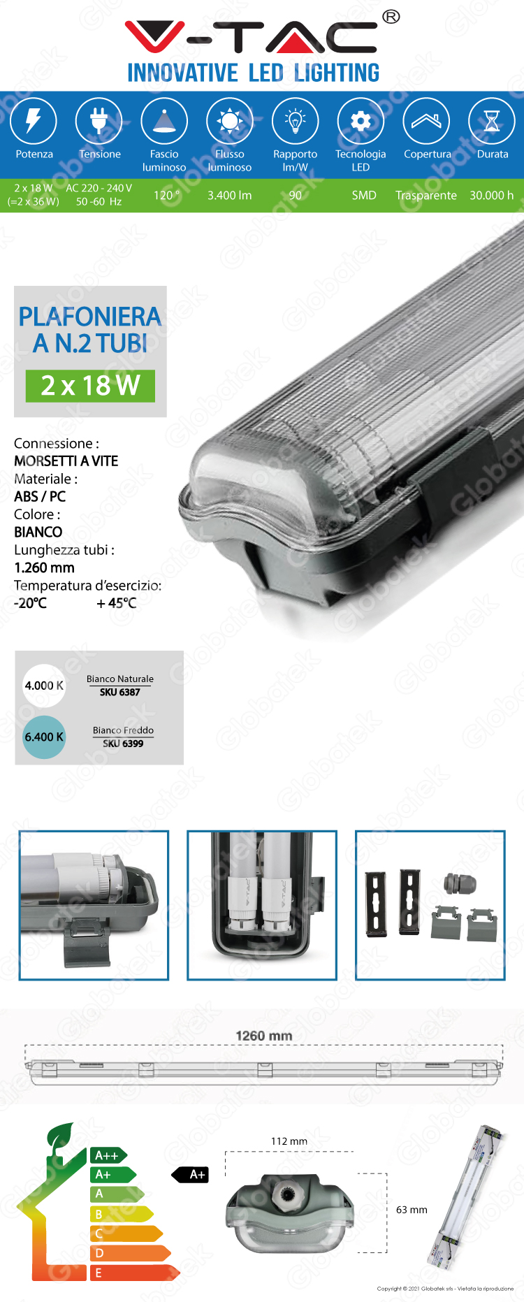 V-TAC VT-12023 TUBO LED PLAFONIERA 2X18W LAMPADINA 120CM IMPERMEABILE